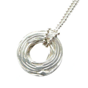 YSA-N18S Necklace- Pond Ripple-Disc Silver 01