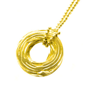 YSA-N18g Necklace- Pond Ripple-Disc Gold
