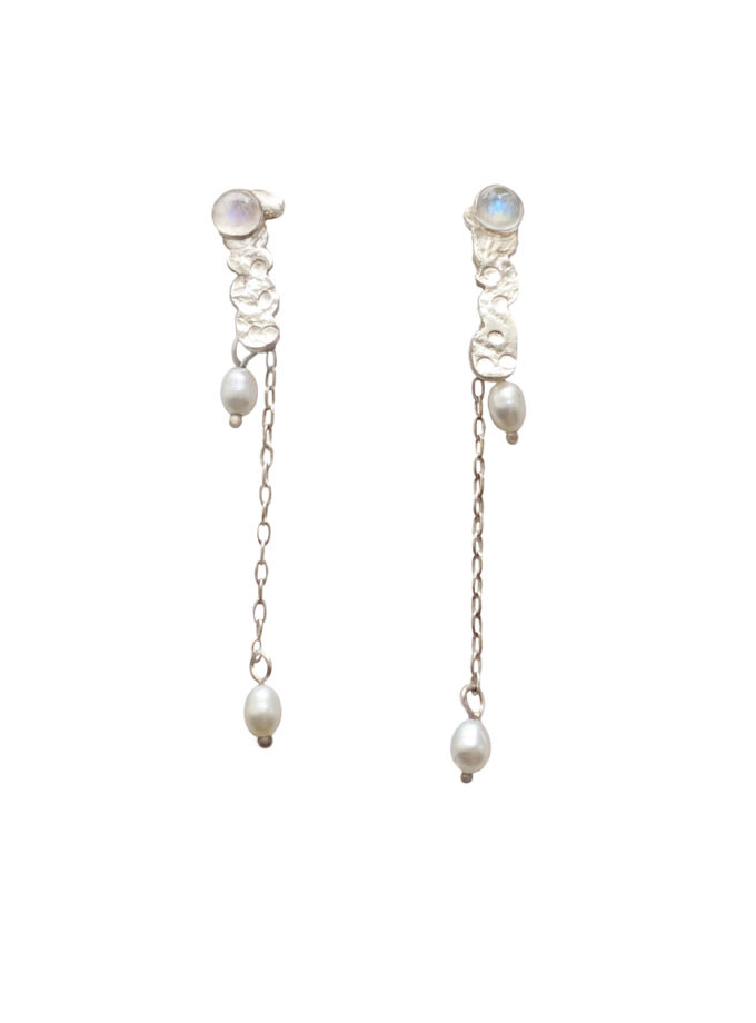 Recycled White Stone with Hanging Pearls Ear S