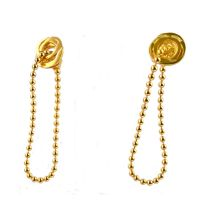 Tiny Ripple Ear Studs with ball chain_Gold/ 18ct yellow gold plate on stering silver