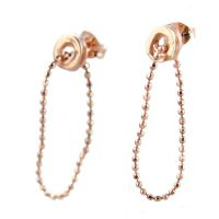 Tiny Ripple Ear Studs with ball chain_Rose Gold/ 18ct rose gold plate on stering silver
