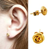 Tiny Ripple Ear Studs_Gold/ 18ct yellow gold plate on stering silver