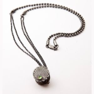 Oxdised Green Necklace/ sterling silver and peridot